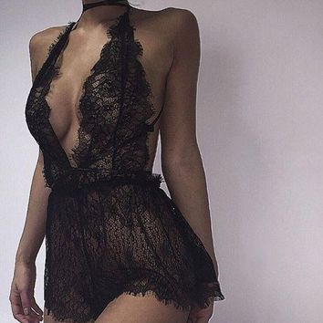 DCCK8H2 Sexy Lace Backless Bodysuit Chantilly Lace Plunge Teddy Bridal Boutique Playsuit Women's One Piece Lingerie