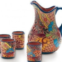Ceramic Talavera Cups and Pitcher - VivaTerra