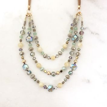 Quasar Beaded Layered Necklace in Mint