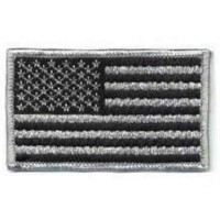 US Flag Black and Silver Patch