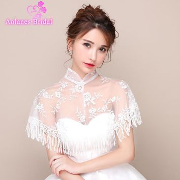 2017 New Off White Ivory Lace High Neck See Through Wedding Bolero Women Wraps Bridal Jacket Beaded Crystal Wedding Shawl