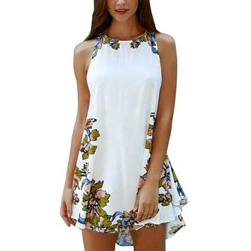 Sleeveless Cocktail Women's Party Dress Skirt Pencil Mini Sexy White Floral