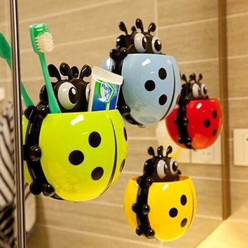 Ladybug kids or adults Toothbrush Wall Suction Sets