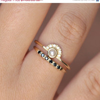 ON SALE Pearl Engagement Ring with a Pave Black Diamond Wedding Ring