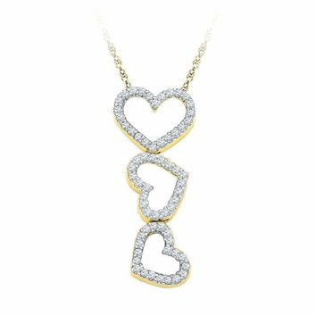 10kt Yellow Gold Women's Round Diamond Triple Cascading Heart Outline Pendant 1-5 Cttw - FREE Shipping (US/CAN)