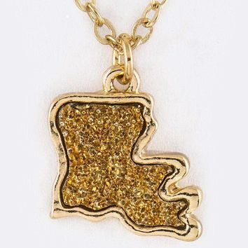 Louisiana State Druzy Pendant Necklace