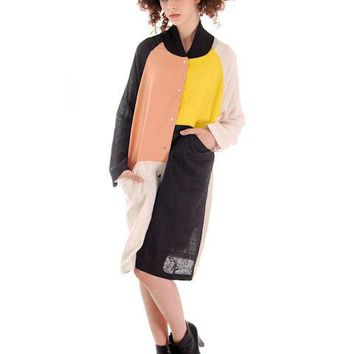 Marimekko Linen Color Block Tent Dress M  Season 2013 autumn-winter
