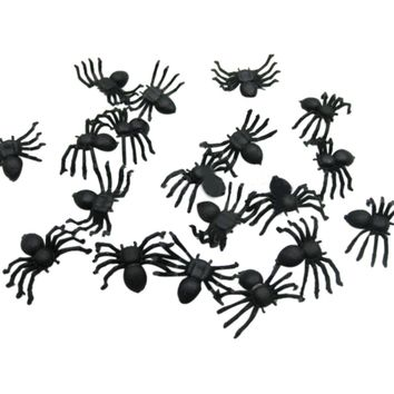 20PC/Set  Halloween Plastic Black Spider Joking Toys Decoration Realistic Funny Pet Cat Toy Wireless For Kids Toys freeshipping