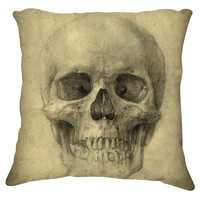 Vintage Skull Pillow Cover