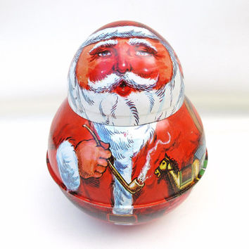 Vintage Santa Tin, Roly Poly, Metal Santa Box, Cheinco Tin, Tobacco Tin, Chein Collectible Tin