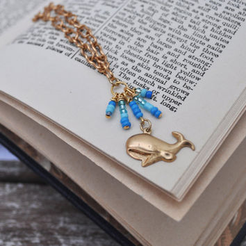 Blue and Gold Whale of a Time Charm Necklace by jMilagro on Etsy