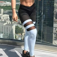 LMFCE6 Leggings Hot Sale Patchwork Permeable Yoga Pants Sportswear [11716827919]