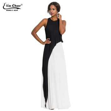 New Women's Brief Black and White Fit and Flare Sleeveless Tank Dress Party Evening Elegant Summer Maxi Dress