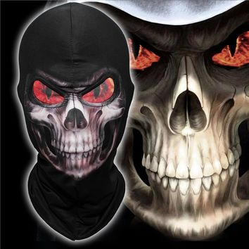 Lycra Flame Eyes Grim Reaper Mask Skeleton Skull Death Balaclava Ghost Hats Airsoft Motorcycle Halloween Full Face Mask