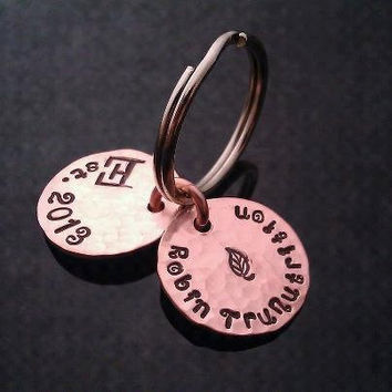 SALE D2E hand stamped hammered lucky penny key chain with your business name and Est. date