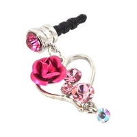 For Apple iPhone 4S 4 Galaxy S Cell Phones & MP3s Silver Heart & Rose Pink Gems Universal 3.5mm Headphone Plug Charm