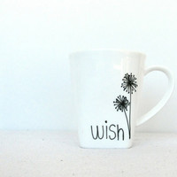 "Wish Mug - Black Hand Painted ""Wish"" with Dandelions on a White Coffee Cup with a Square Base"