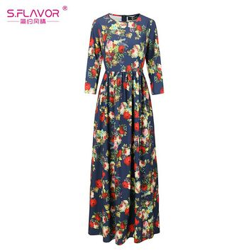 Casual long dress Autumn Winter fashion printing long sleeve floor-length maxi Boho draped dress