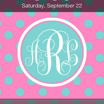 Pink and Blue Polka Dot Monogram iPhone Wallpaper