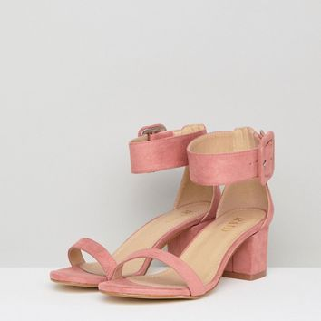 RAID Wide Fit Frances Pink Suede Mid Block Heeled Sandals at asos.com