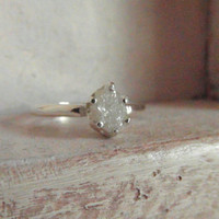Snow white-Raw Rough Diamond - Solitaire- promise-one of a kind engagement ring