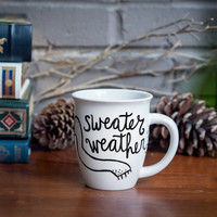 Sweater Weather >> Ceramic Coffee Mug >> Coffee Cup >> Hand Painted >> Unique Design >> Customizable