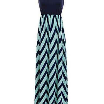 Sherosa Women Boho Chevron Striped Print Summer Sleeveless Tank Long Maxi Party Dress