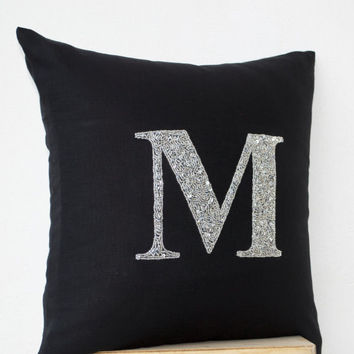 Customized Silver Sequin Bead Monogram decorative pillow- Beaded Throw pillows - Linen pillow cover - Black pillow 16X16 -Bead Embroidered