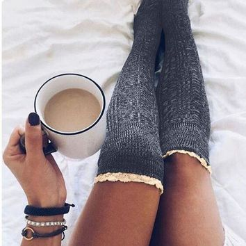 DCKL73 Fall Winter Slim Leg Long Socks Lace Socks 4 Colors [11921200719]