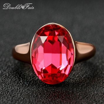 Double Fair Pink CZ Stone Oval Ring Rose Gold Color Fashion Crystal Love Wedding/Engagement Party Jewelry For Women Gift DFR223