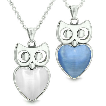 Amulets Owl Cute Hearts Love Couples Set White and Star Blue Cats Eye Pendant Necklaces