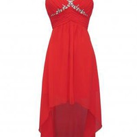 Red Hi-Lo Chiffon Dress with Diamante Embellished Top