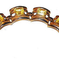 "Yellow Art Glass Bracelet Gold Bar Curved Links 7"" Art Deco Vintage"