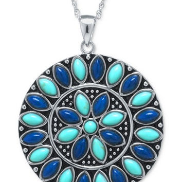 Manufactured Turquoise and Lapis Medallion Pendant Necklace in Sterling Silver
