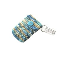 Aqua , Blues , Tan and Cream Crocheted Keychain Pouch - Item #20151019