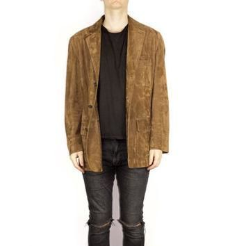 POLO RALPH LAUREN suede leather jacket / ultra soft / classic brown leather blazer / m
