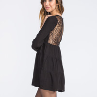 Chloe K Lace Back Tiered Dress Black  In Sizes