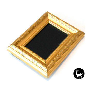 Small Black Mirror with Gold Frame: Scrying Mirror