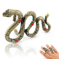 Fashion Retro Rhinestone Snake Rings Random Color