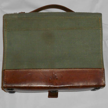 Vintage Swiss Army Medic's Bag Leather/Canvas/Metal