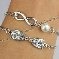 The owl, infinity Bracelet, Antique Silver Bracelet, bangle, jewelry, Christmas gifts, send him (her) the best choice of gift