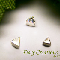 """Nose Screw or Tragus stud """"Geometrics"""" -  tiny Triangles in Sterling silver"""