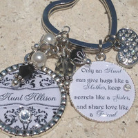 AUNT Personalized Keychain,Damask, Aunt Quote, Heart Charm, Beaded Swarovski Crystals,Pearls,Gifts for her,Personalized Jewelry