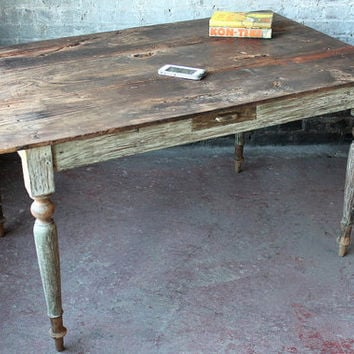 Farm Table Reclaimed Restored Antique Primitive Wood Top Rustic Farm Chic Dining Table