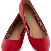 ModCloth Minimal Reel Simple Flat in Red
