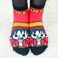 Spring Cute Cartoon Women Socks One Piece Luffy Chopper Knitting Socks Girl Sock Slippers Men Socks