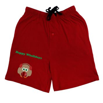 Happy Wholidays Winter Owl With Earmuffs Adult Lounge Shorts - Red or Black