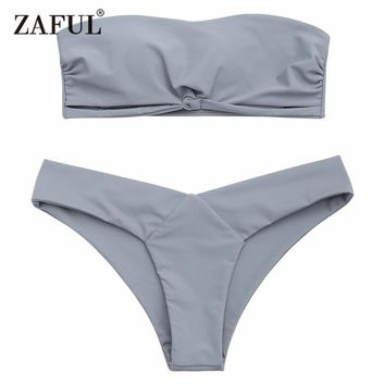 Zaful 2017 Women Bandeau Padded Bikini Set Sexy Low Waist Solid Color Strapless swimsuit Swim Bathing Suits Brazilian Swimwear