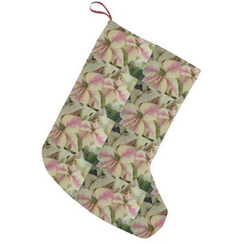 Marbled Poinsettias Floral Photo Small Christmas Stocking