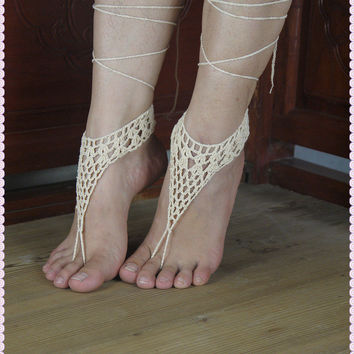 White Barefoot sandals wedding sandals hippie barefoot sandals barefoot sandles crochet barefoot sandals yoga anklet jewelry Crochet barefoot sandals,nude shoes,wedding,victorian,sexy,yoga,Toe thong Bottomless shoes,beach pool,Sexy gipsy feet HL0135